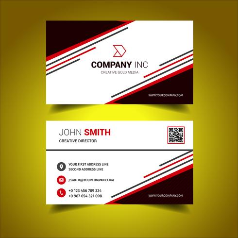Bright Red And White Business Card