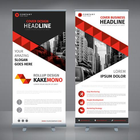 Elegantes rotes Business-Rollup