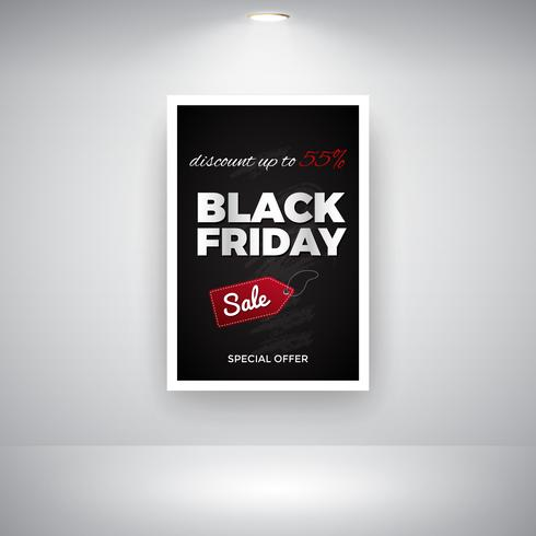 Black Friday Sale On Blackboard On Wall