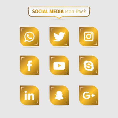 Collection Of Golden Social Media