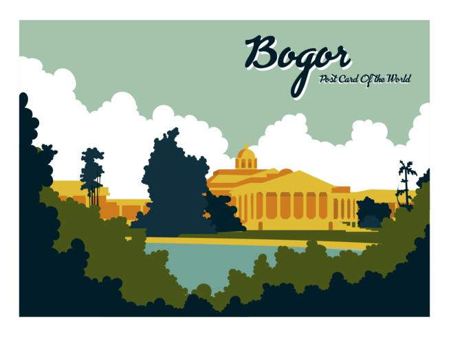 Vector de la postal de Bogor Indonesia