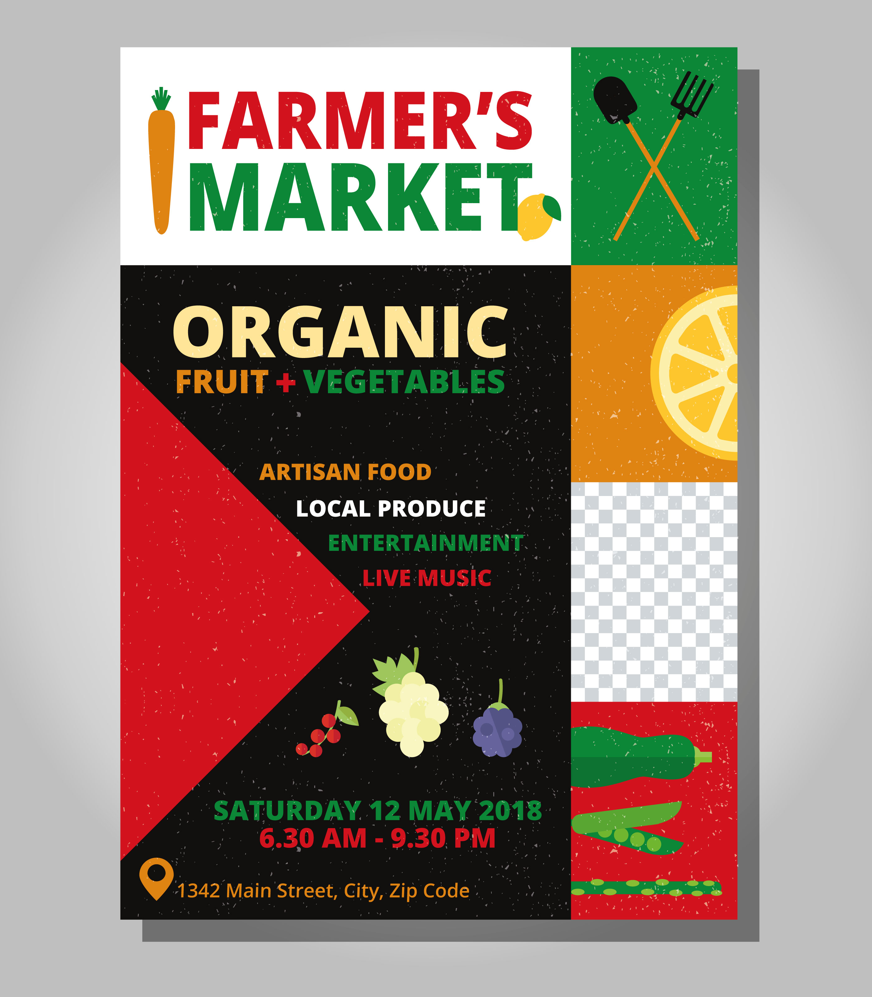Farmers Market Flyer Template Download Free Vector Art Stock