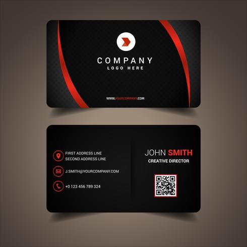 Black And Red Lined Business Card