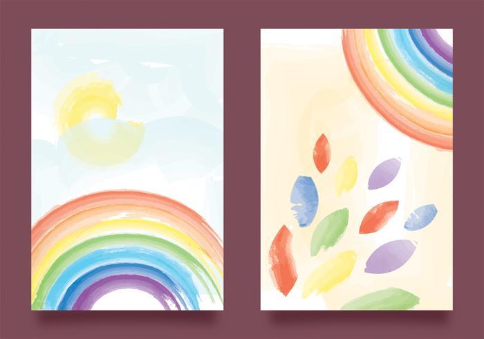 Arco iris de acuarela en diseño vectorial de papel