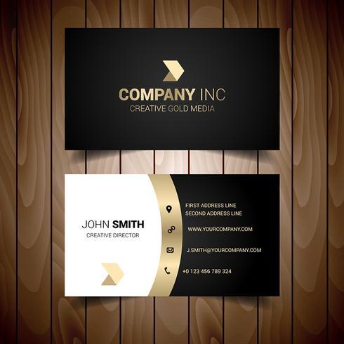 Carte de visite professionnelle corporative aux tons dorés et gris