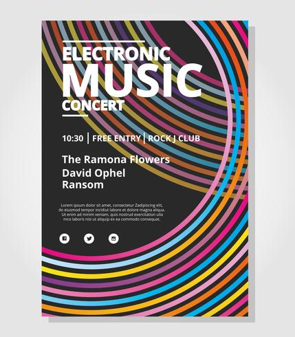 electronic concert poster template download free vector art stock
