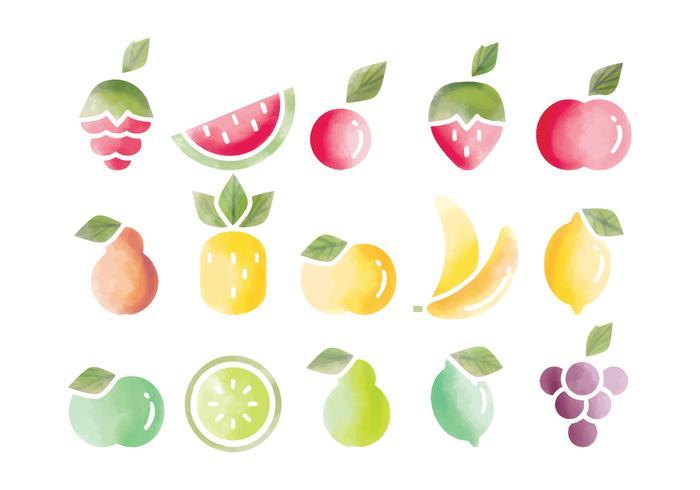 frutas vetor aquarela