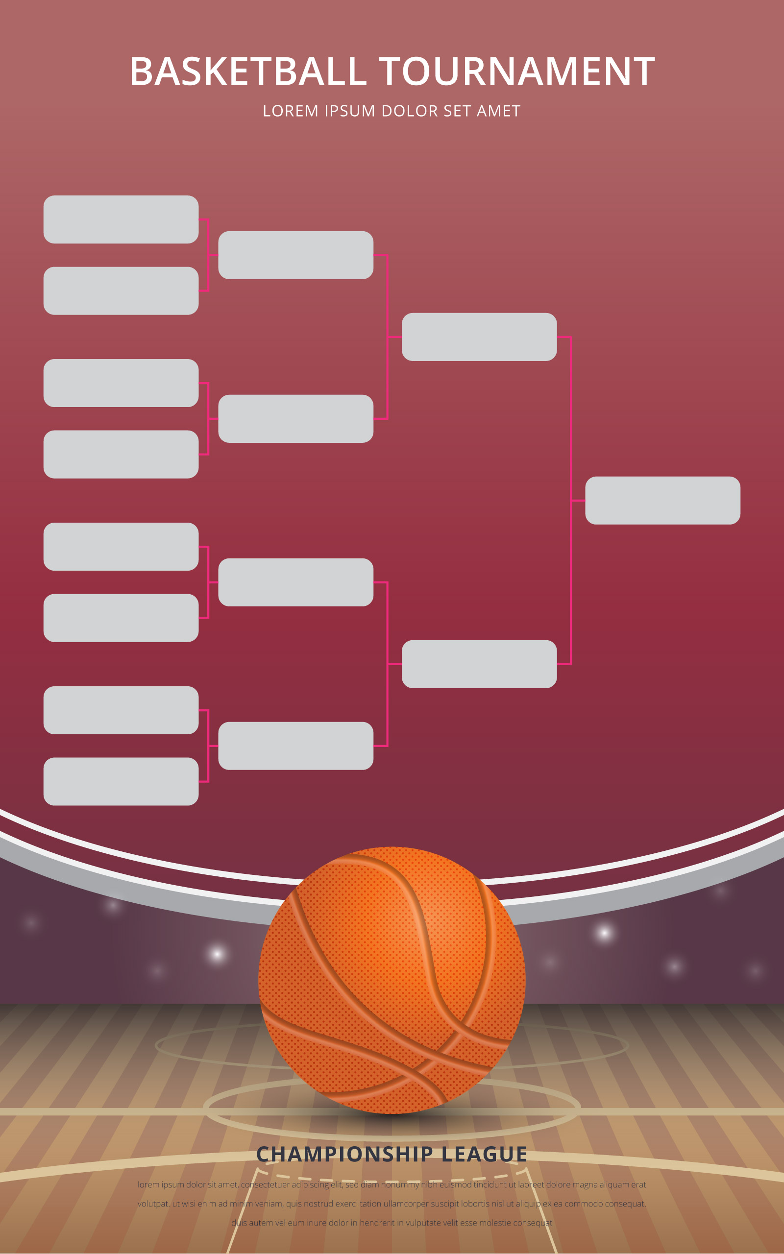 Basketball Tournament Bracket Poster Template Download Free Vector