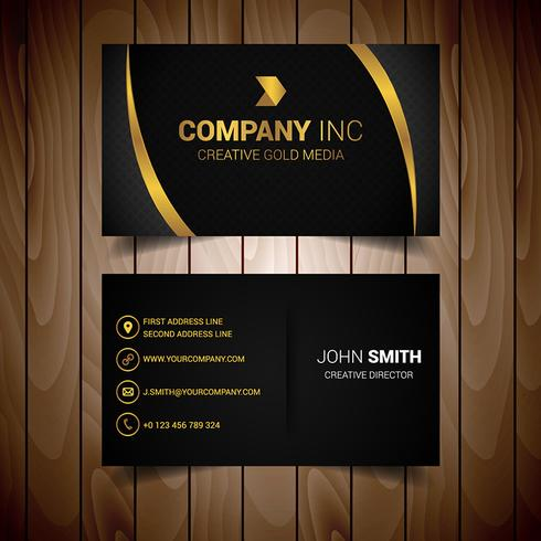 Black And Gold Lined Elegant Business Card