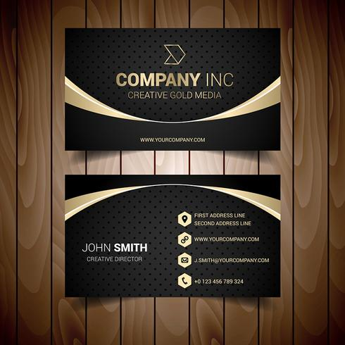 Gold And Grey Bordered Business Card