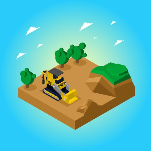 Isometric Auger Is Digging The Ground Free Vector