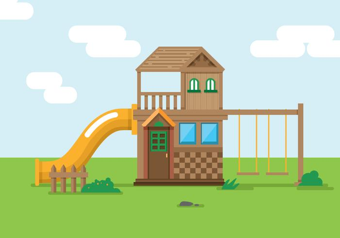 Playhouse With Slide Vector