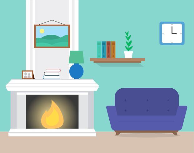 Flat Design Vector Room Design Illustration