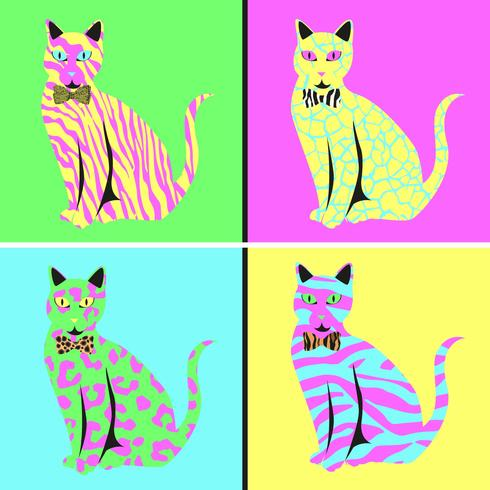 Katzen-Pop-Art-Illustrations-Vektor