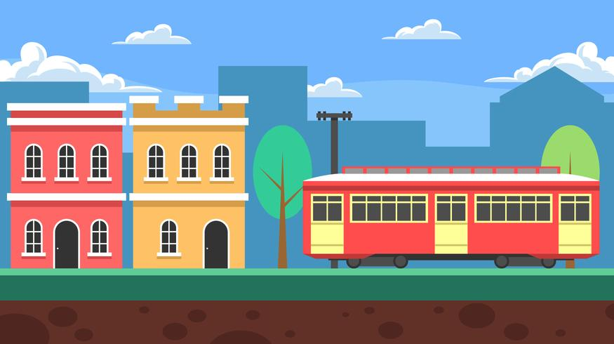 New Orleans Streetcar Landscape Background Vector