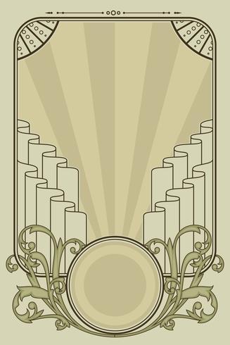 Couleurs pastel Art Nouveau Frame Vector