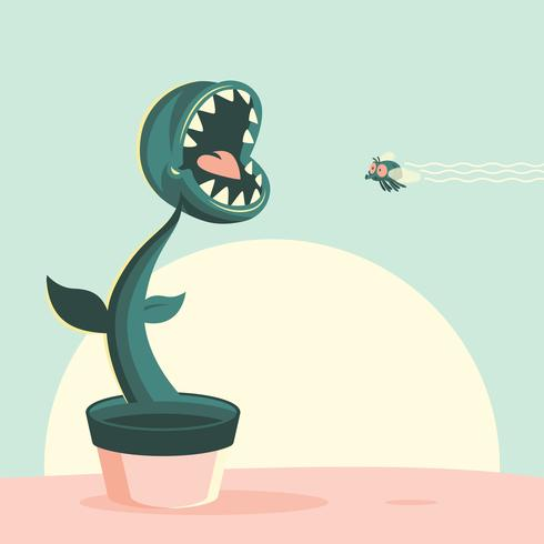 Venus Flytrap Flat Cartoon Illustration
