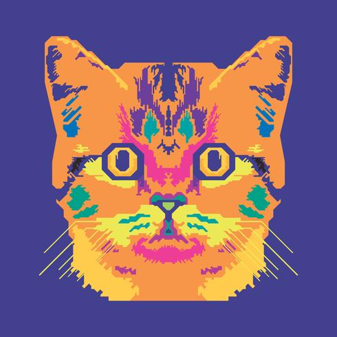 Vektor-Pop-Art-Porträt einer Katzen-Illustration