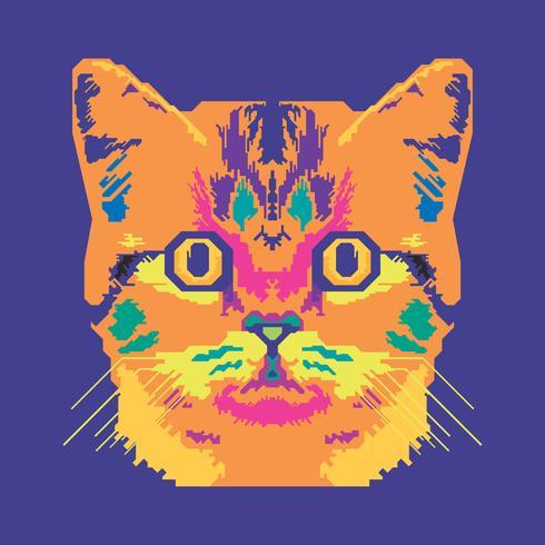 vetor pop art retrato de uma ilustração de gato