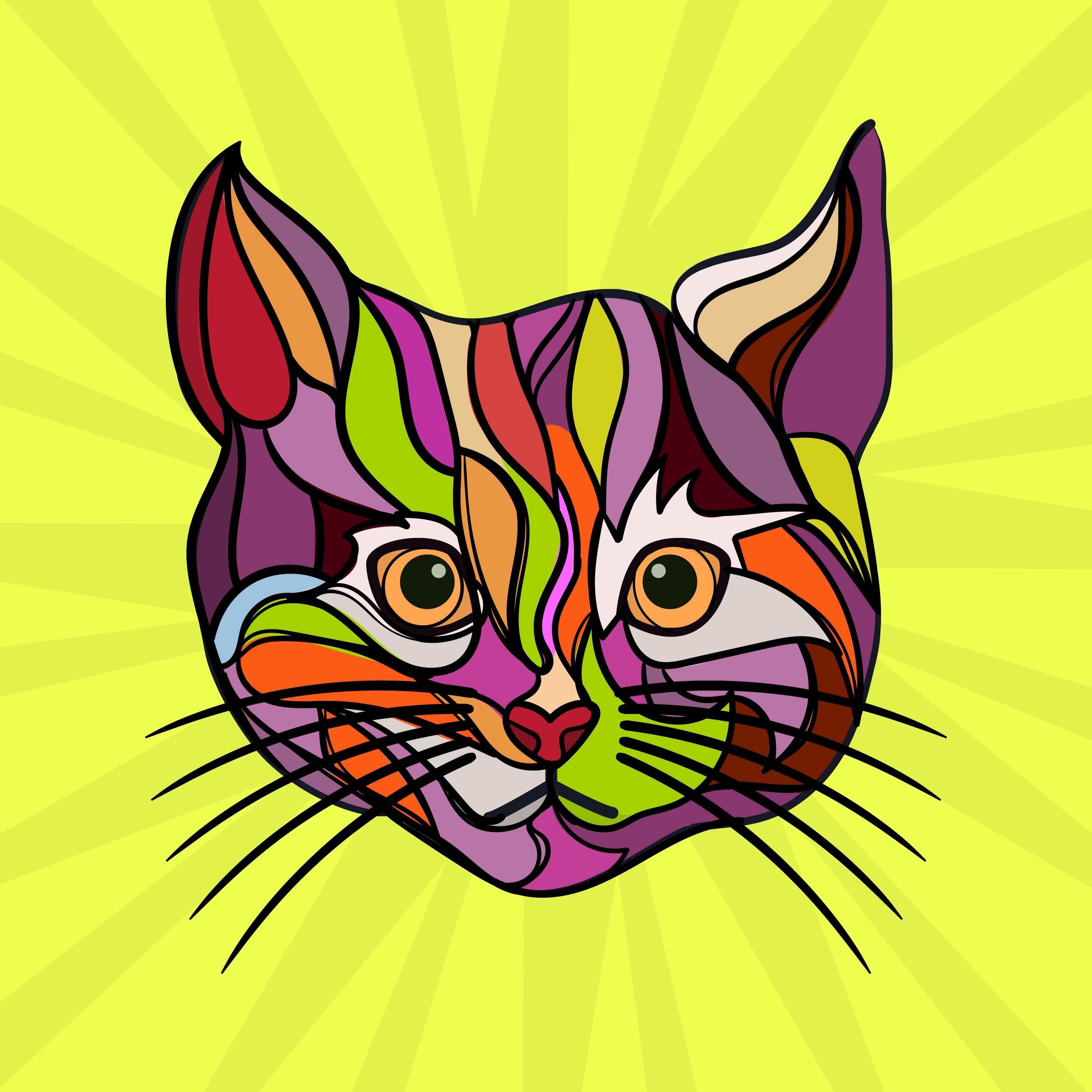 LEOPARD ART PRINT POSTER Design B Cat Animal Colorful Decor Illustration