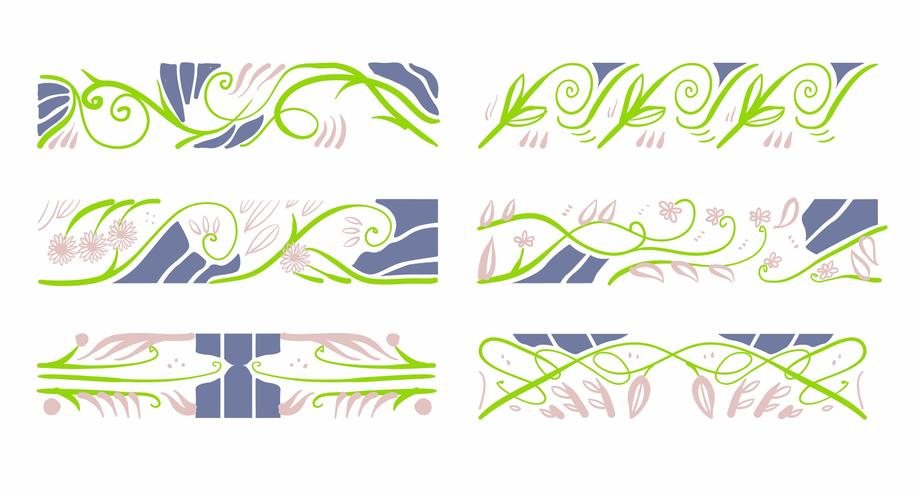 Art Nouveau Floral Pattern Elements Decoración Vector