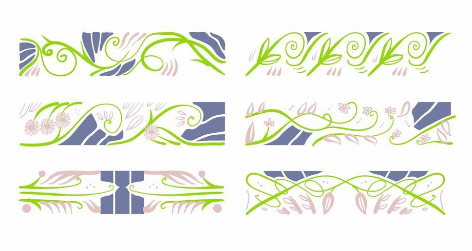 art nouveau floral padrão elementos decoração vector