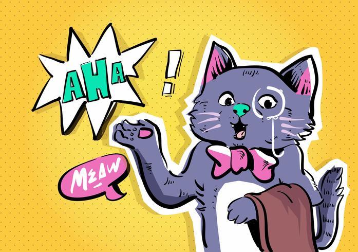 gato cómico carácter vector arte pop