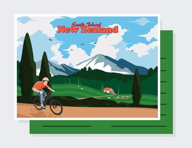 Neuseeland Postkarte Vektor
