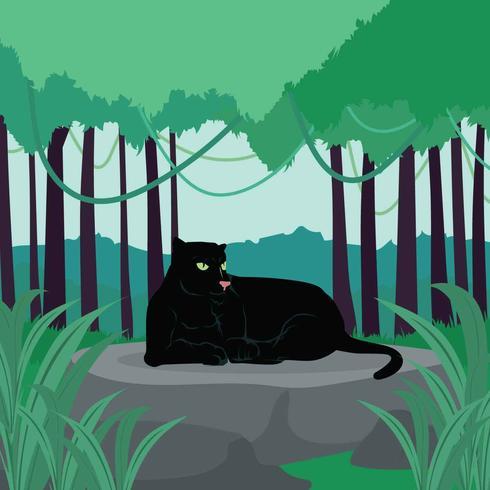 Black Panther Lying On Giant Rock Illustration