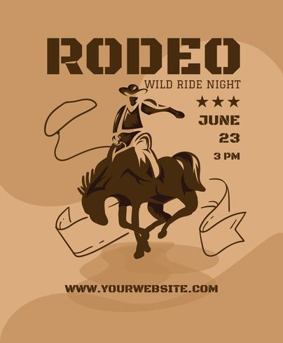 western rodeo flyer design template download free vector art