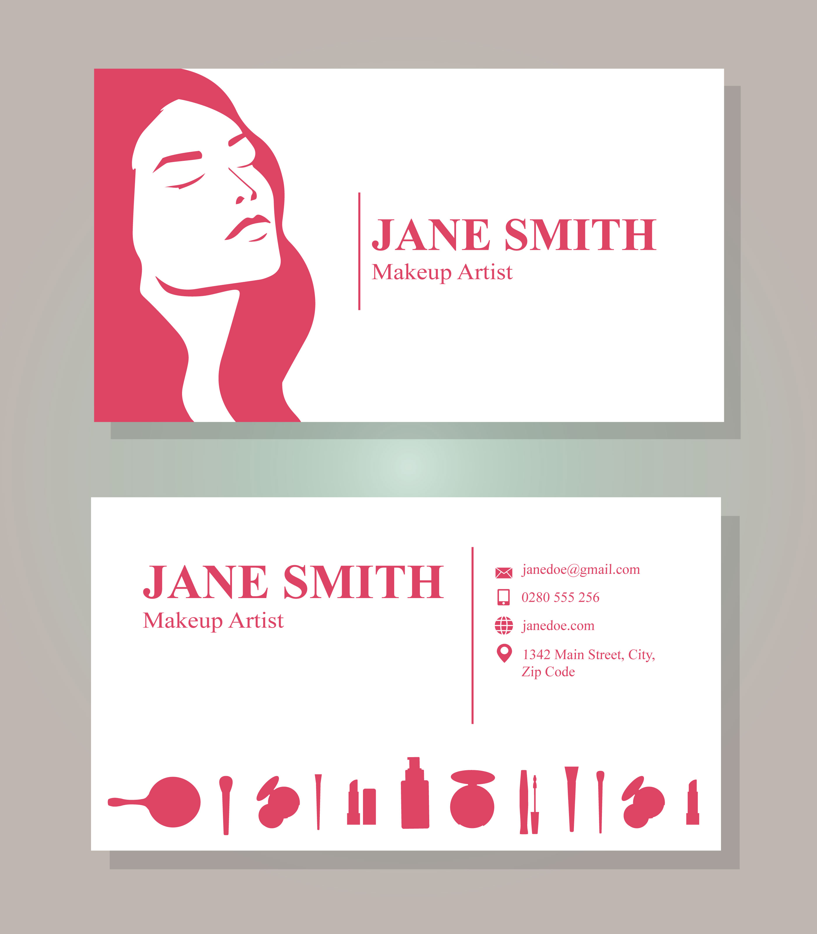 Makeup artist business card free vector art 33582 free downloads colourmoves