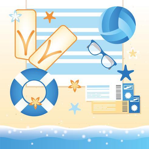 Vektor-Sommer-Strand-Elemente und Ikonen