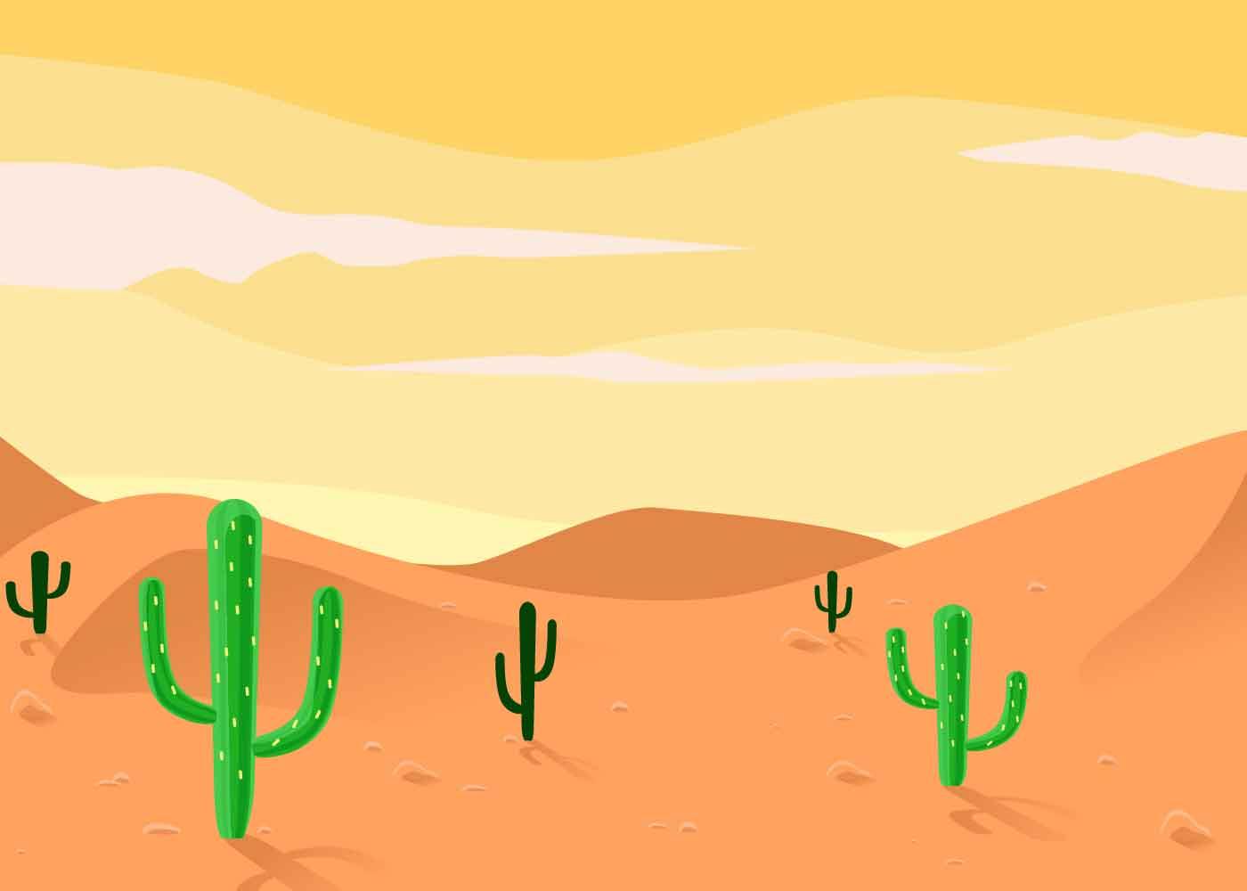 Landscape Illustration Vector Free: Desert Landscape Illustration Vector