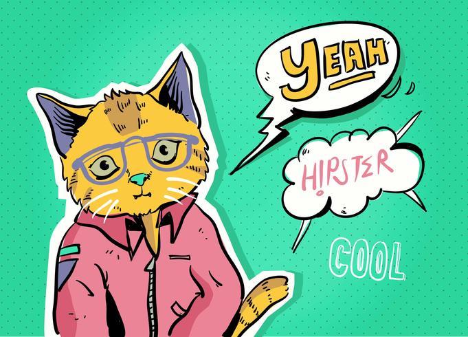 Hipster Comic Character Cat Pop Art Vector