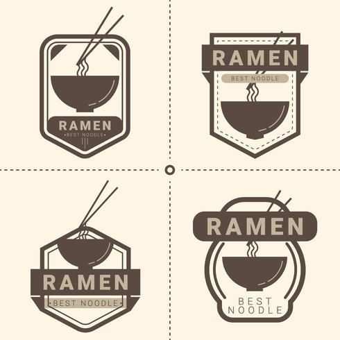 ramen badge pack vector