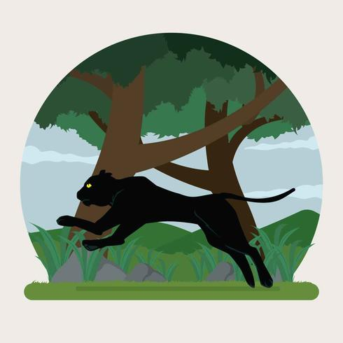 Black Panther Jumping On Forest Illustration