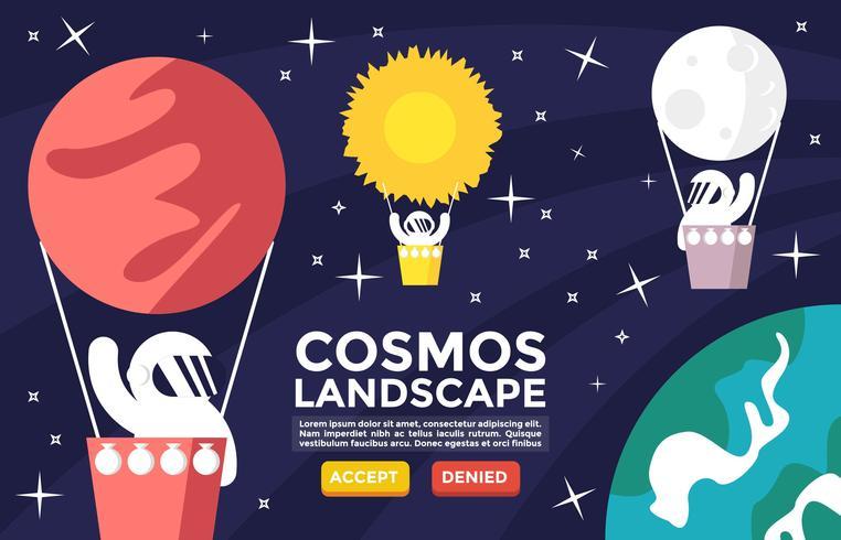 cosmos, paisaje, plano, ilustración, vector