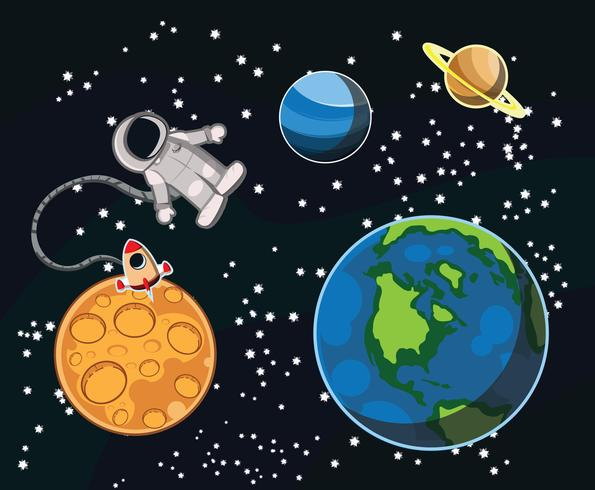 Planets and Astronaut Vector