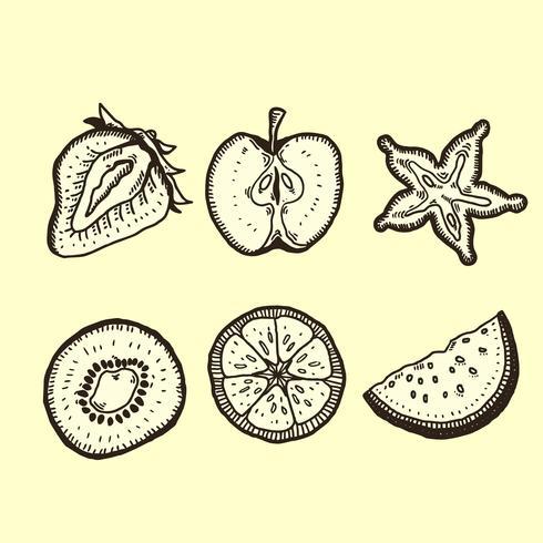 paquet de gravure de fruits