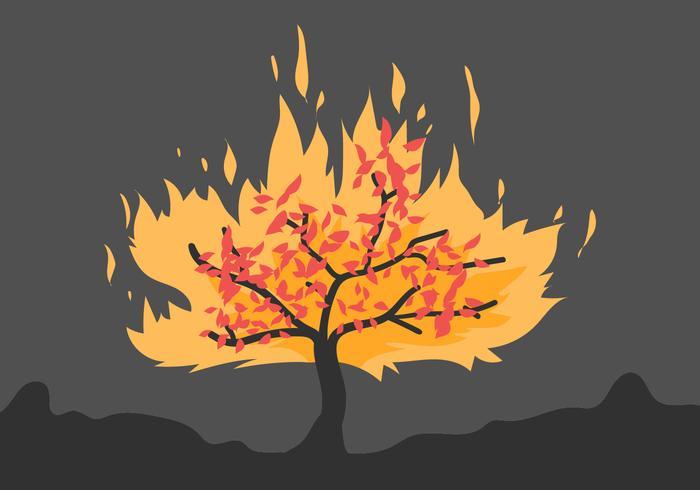 brandende struik vlakke illustratie