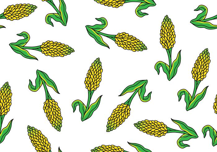 Sorghum Seamless Pattern vector