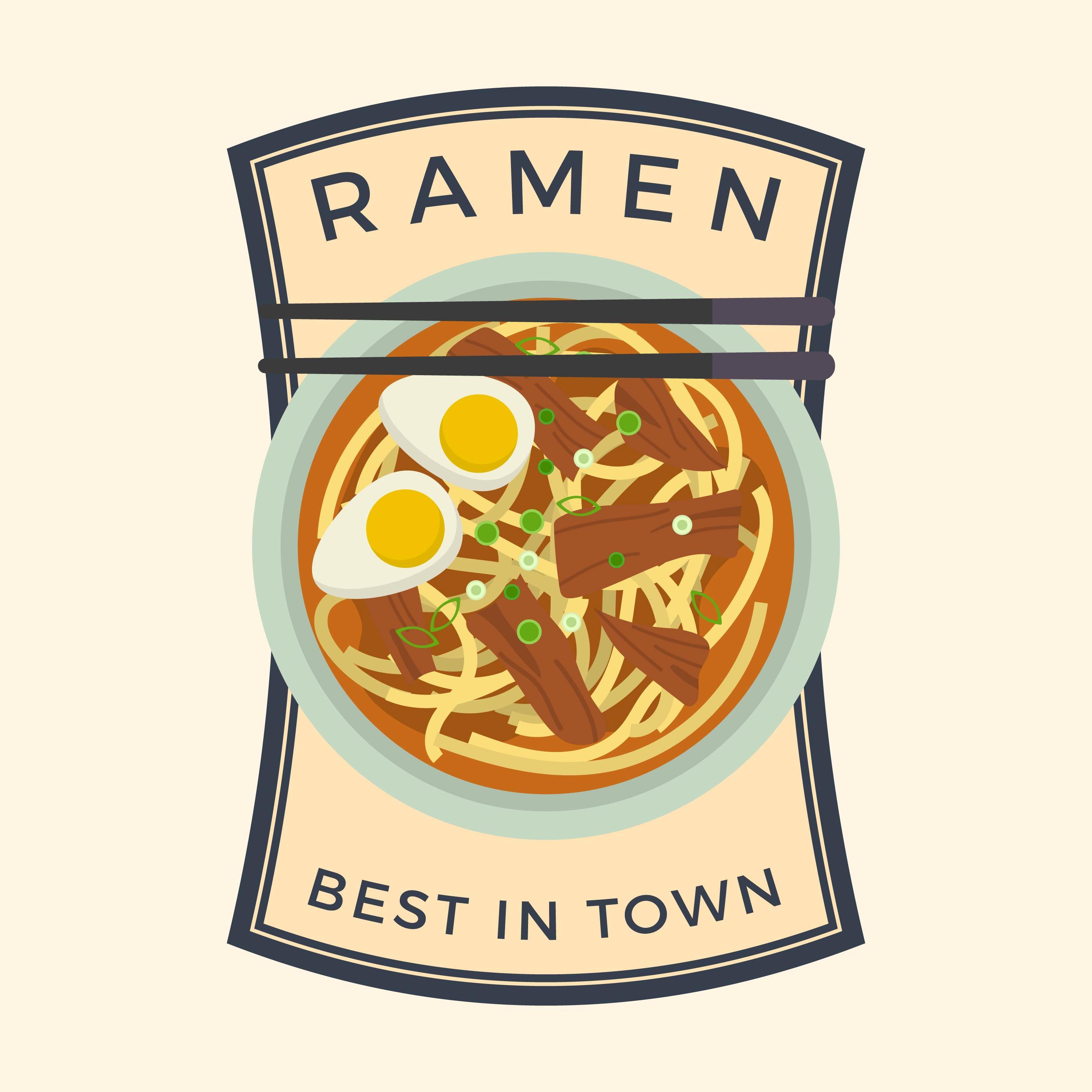 flat ramen badge vector illustration - download free vector art