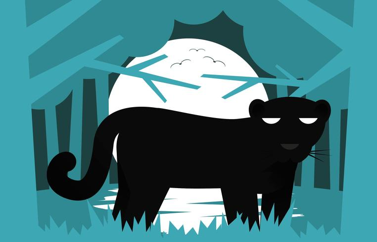 Black Panther Flat Illustration Landscape Vector