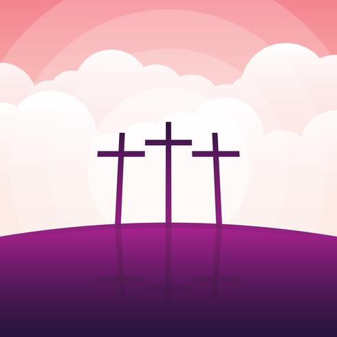 Calvary And Crosses Landscape Illustration