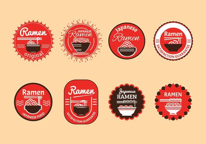 Set of Japanese ramen badge illustration in brown background