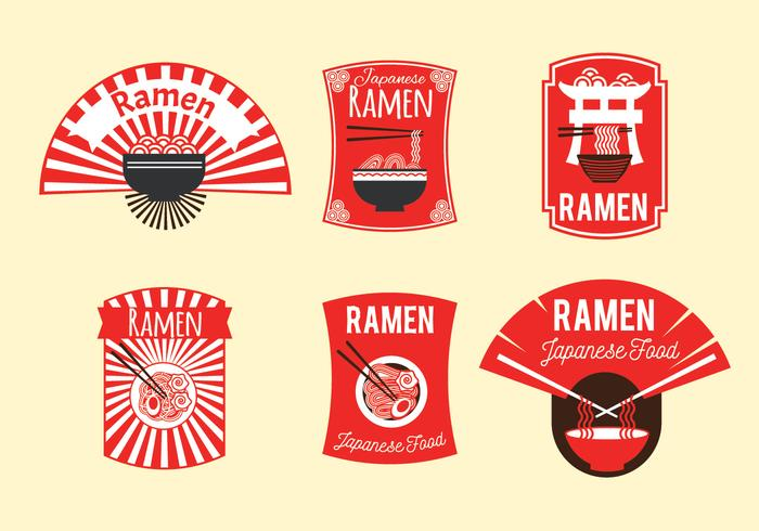 Ensemble d'illustration de badge ramen japonais sur fond marron