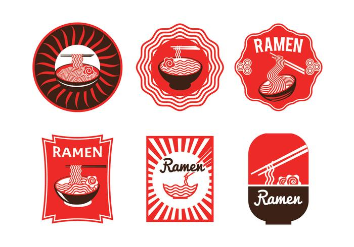 Set of Luxury Japanese Ramen Badge Illustration Isolated in White Background