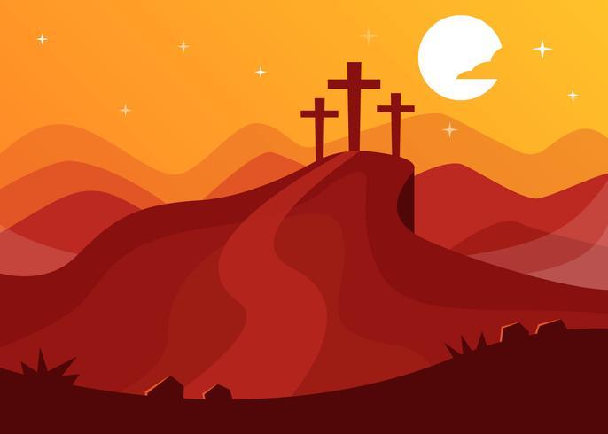 Monte el Calvario con el fondo de tres cruces