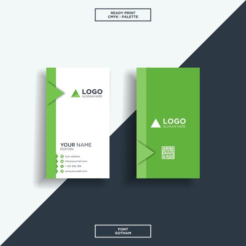 Business card vertical green and black