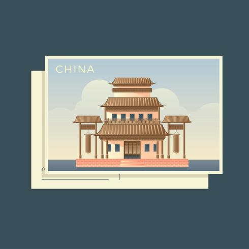 Postkarten der Welt China Vector